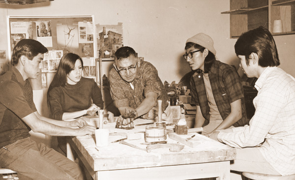 Allan Houser (center) with students (left to right) Ramos Pacheco, Sandy Fife, Harold Littlebird, Louis Chikoyak, c. 1967. Photograph by Kay V. Wiest. Courtesy of IAIA Archives, Santa Fe, New Mexico.