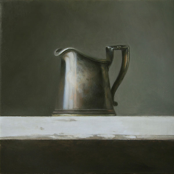 Pewter Pitcher, oil, 8 x 8.