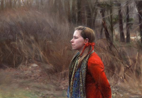 Kate Sammons, Portrait of Erin, oil, 6 x 9.