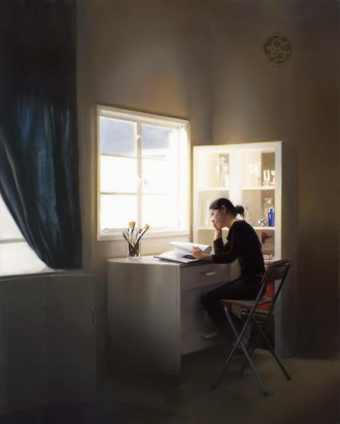 Kate Sammons, Self Portrait in Studio, oil, 10 x 8.