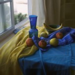 Kate Sammons, Still Life in Blue and Yellow, oil, 24 x 30.