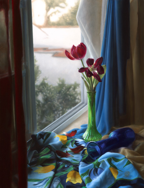 Kate Sammons, Still Life With Tulips, oil, 26 x 20.