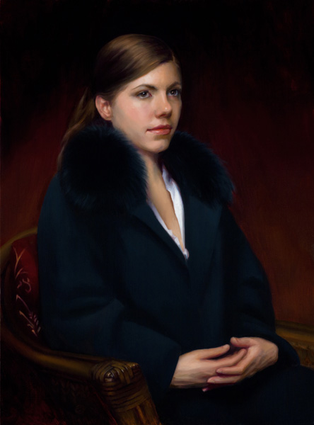 Kate Sammons, The Black Coat, oil, 31 x 23.