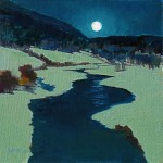 Elizabeth Sandia, Moonlit San Juan River, oil, 8 x 8.