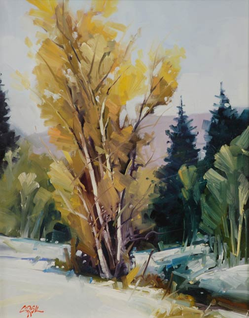 Gregory Stocks | Snow in Carbondale, oil, 14 x 11.