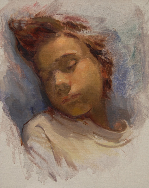 Lynn Sanguedolce, Sophie Sleeping, oil figure painting