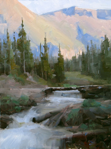 Dave Santillanes, Spring Runoff, oil, 12 x 9.