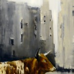 Elsa Sroka, City Cow, oil, 24 x 20.
