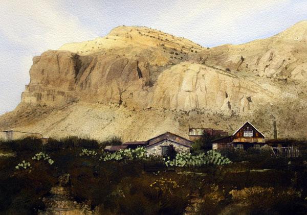 Steins Peak, watercolor, 14 x 20.