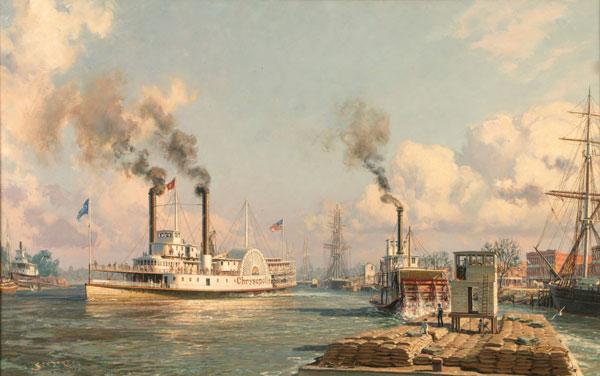 Sacramento: The Celebrated River Steamer Chrysopolis Leaving for San Francisco in 1870 by John Stobart