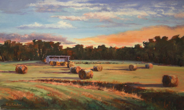 Nancy Whitaker, Sun Setting on Hay Bales, oil, 12 x 20.