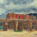 John Schooley, Taos Pueblo, watercolor, 23 x 18.