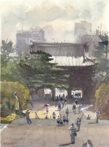 Stewart White, Temple Gate, watercolor, 10 x 14.