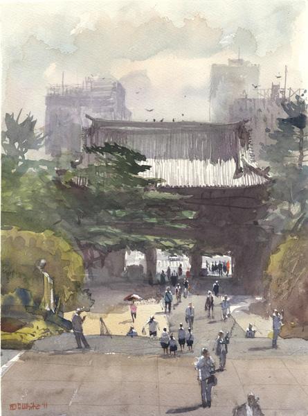 Stewart White, Temple Gate, watercolor, 10 x 14.