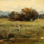 Terry Miura, Alone in the Field, oil, 12 x 12.