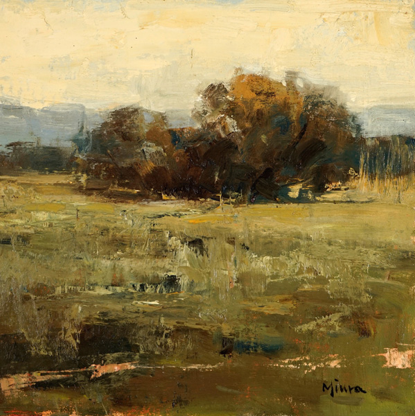 Terry Miura, Alone in the Field, oil, 12 x 12.