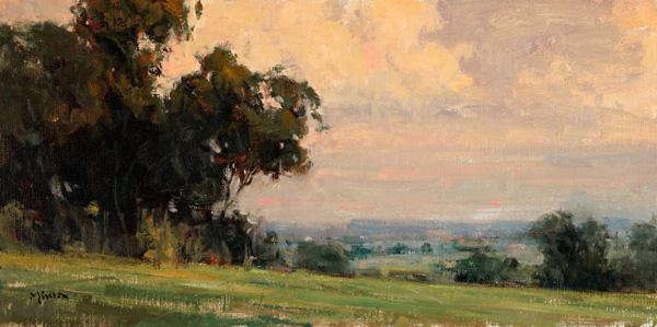 Terry Miura, Into Evening, oil, 12 x 24.