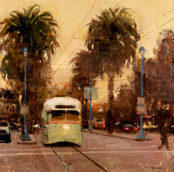 Terry Miura, San Francisco Pale Yellow Sky, oil, 36 x 36.
