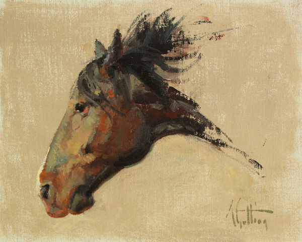 Abigail Gutting, The Bronc, oil, 8 x 10.