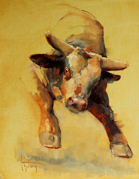 Abigail Gutting, The Horns of Dilemma, oil, 20 x 16.