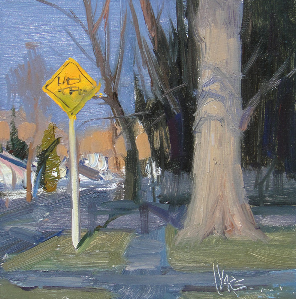 Josh Clare, The Sign, oil, 6 x 6.
