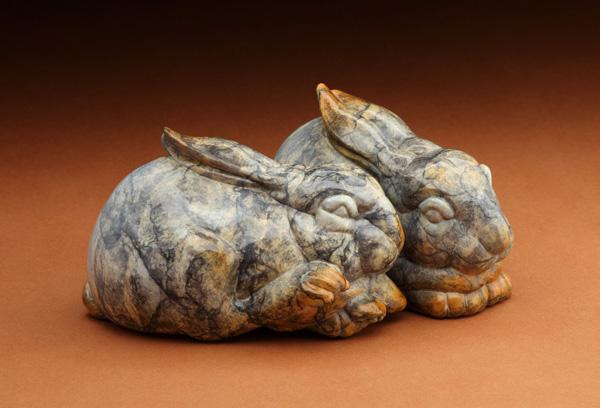 Joshua Tobey, Snuggle Bunnies, bronze, 4 x 6 x 3.