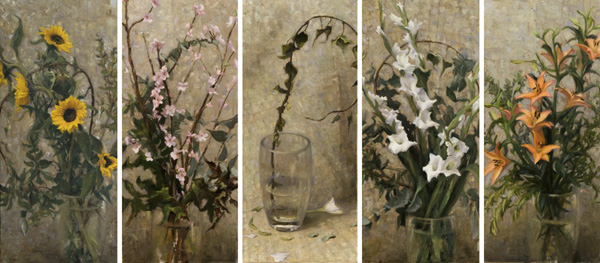 Melissa Franklin Sanchez, Una Giornata Senza Fiori, oil, five panels, each one is 36 x 16.