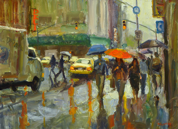 Ken Valastro, Red Umbrella, oil, 30 x 40.