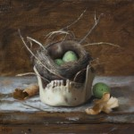 David Gluck, Vanitas With Eggs, oil, 8 x 8.