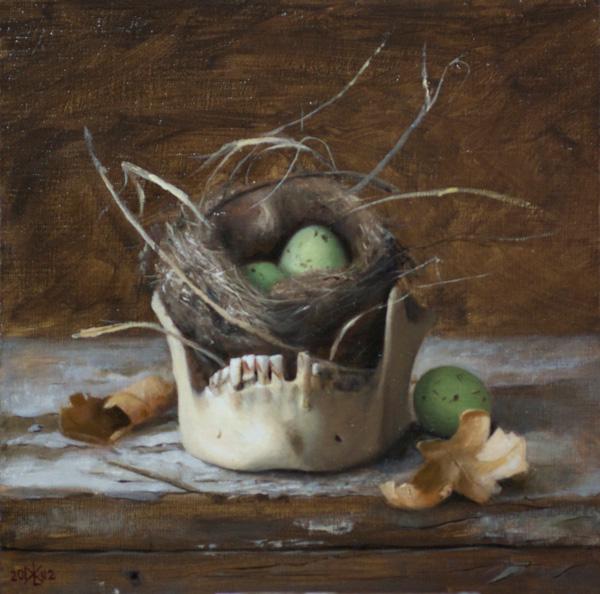 David Gluck, Vanitas With Eggs, oil, 8 x 8.