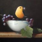 Sarah Siltala, Warbler with Grape, oil, 8 x 10.
