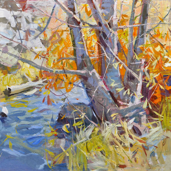 Fall at Bear Creek, oil, 36 x 36.