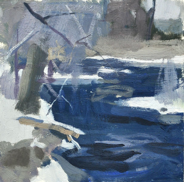 Indigo River, oil, 8 x 8.