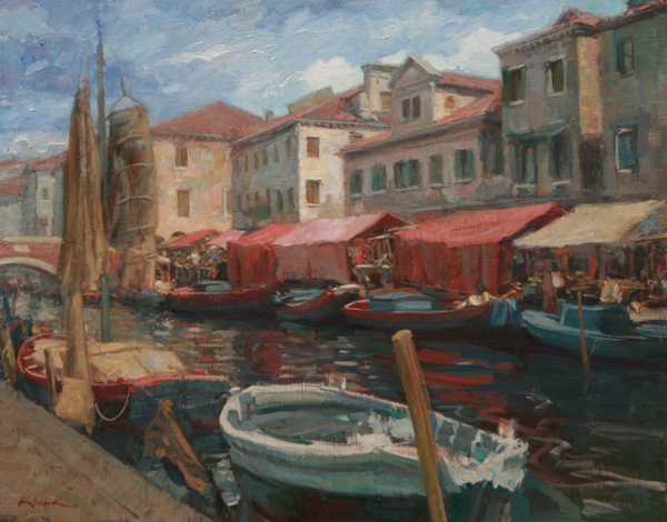 William J. Kalwick, Jr., Italian Fishing Village, oil, 19 x 24.