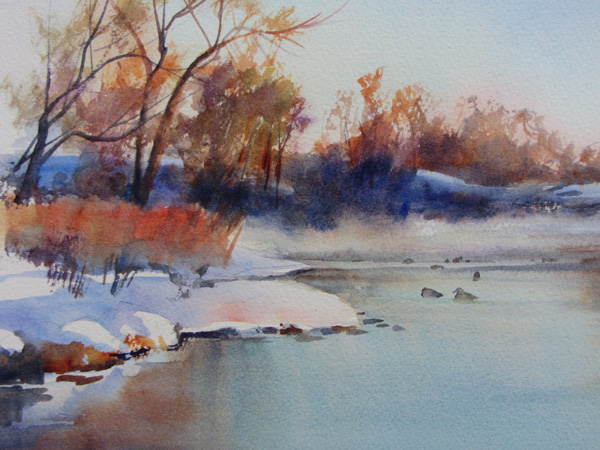 Anita Winter, Platte River, watercolor, 8 x 10.