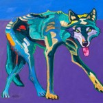 John Nieto, Wolf, acrylic, 20 x 24.