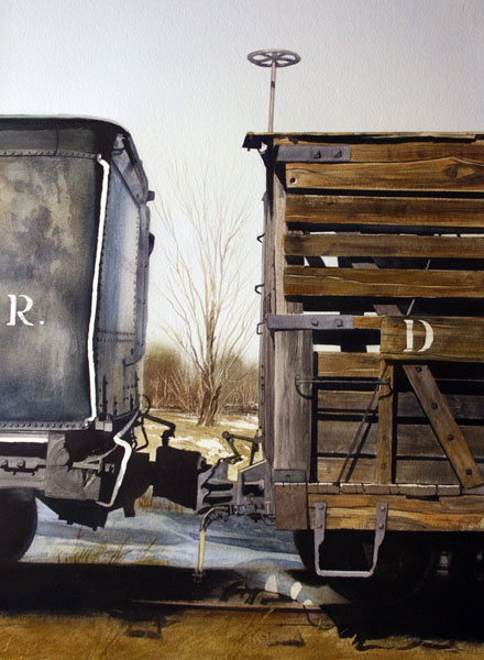 Wooden Boxcar, watercolor, 30 x 22.